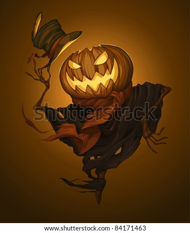 Pumpkin scarecrow - stock vector