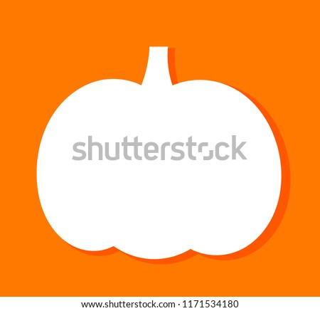 Pumpkin shape white label on orange background. Vector illustration
