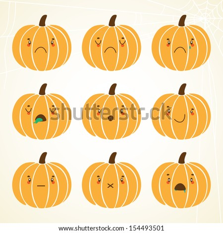 Pumpkin smiley: sad, dissatisfied, weeping, ill, shock, grin, silence, no emotions, dead