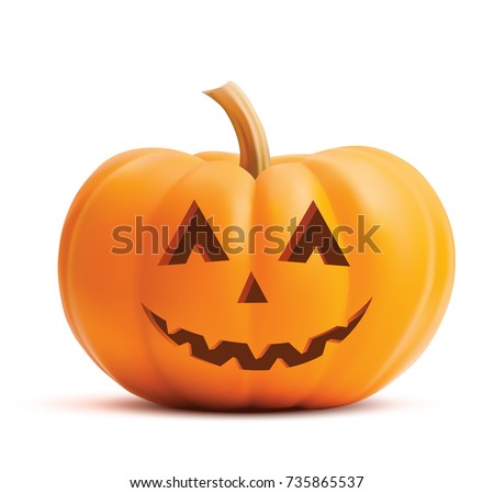 Pumpkin smiling face on white background. Pumpkin scary face halloween. Vector illustration of happy pumpkin