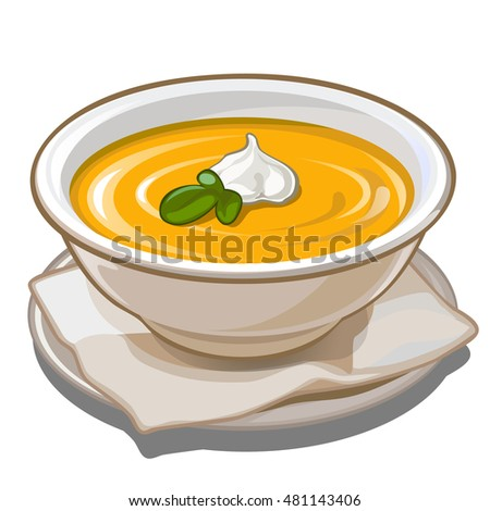 Pumpkin soup with cream in a white porcelain plate. Illustration for cookbook isolated on white background. Vector.