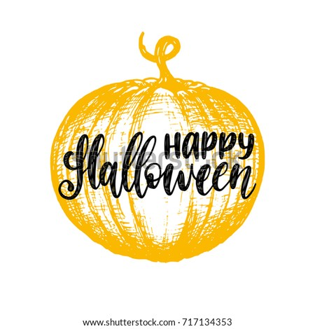 Pumpkin vector illustration with Happy Halloween lettering for party invitation card, poster. All Saints' Eve background.