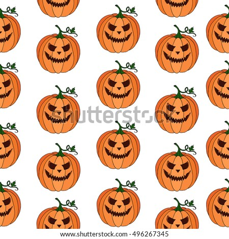 pumpkin vector pattern texture on white background doodle