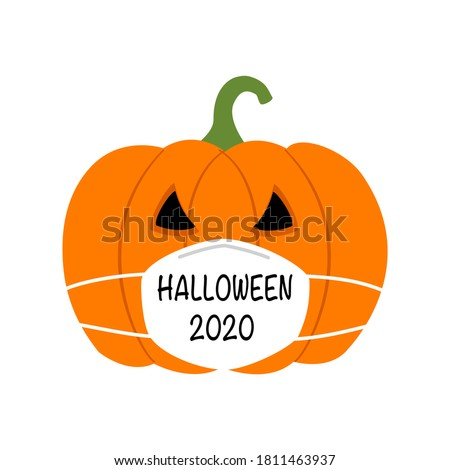Pumpkin wearing medical face mask in flat design. Halloween festival in Covid-19 Coronavirus outbreak concept vector illustration on white background.