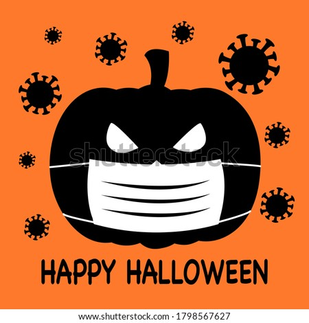 Pumpkin wearing medical face mask with virus cells around in flat design. Halloween festival in Covid-19 Coronavirus outbreak concept vector illustration.