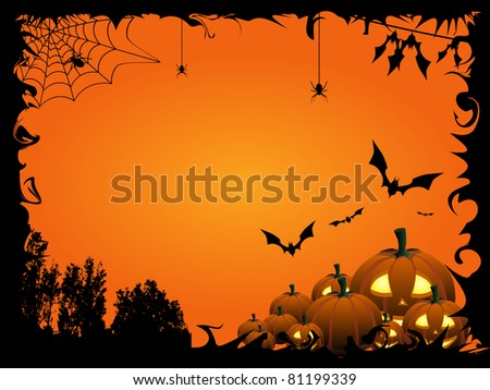 Pumpkins, bats and spiders on the orange Halloween background - check out my animation with this illustration: http://goo.gl/BBKpj9