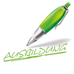 Pun with pen and education, Letters with Ausßbildung means education