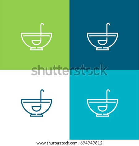 Punch bowl green and blue material color minimal icon or logo design