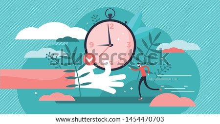 Punctual vector illustration. Flat tiny precision timing persons concept. Perfect schedule and accurate control for lifestyle efficiency. Abstract characteristic visualization with time and clock.