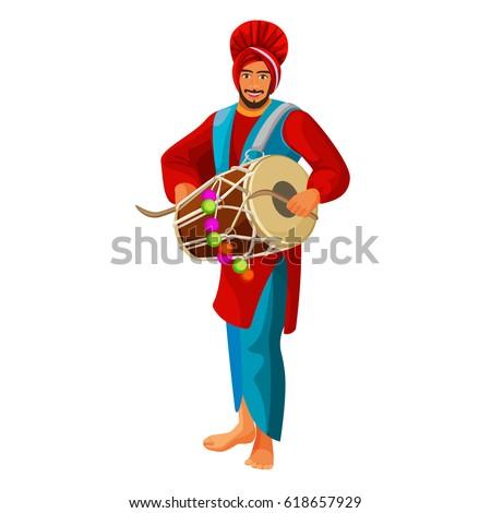 punjabi bhangra drummer in