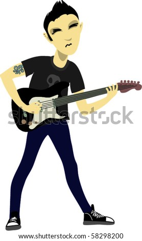 Punk guitarist - stock vector