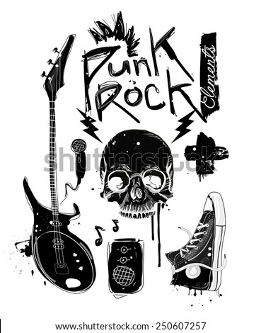 Punk Rock Elements Vector set
