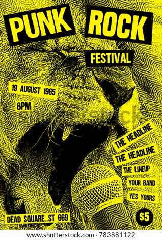 punk rock flyer poster template