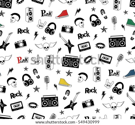 punk rock seamless pattern