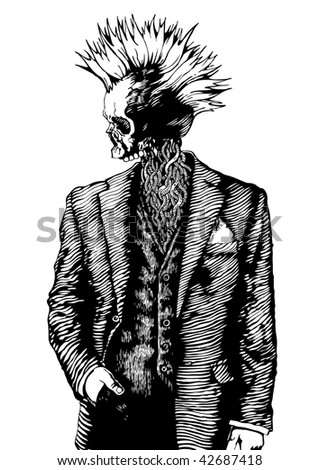 punk skull in the men's suit. vector illustration grunge style.
