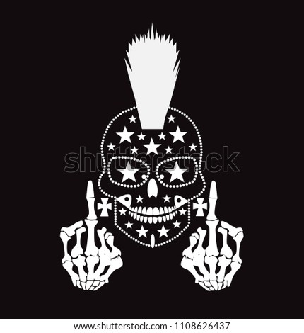 0461b95195fd Punk skull with middle finger