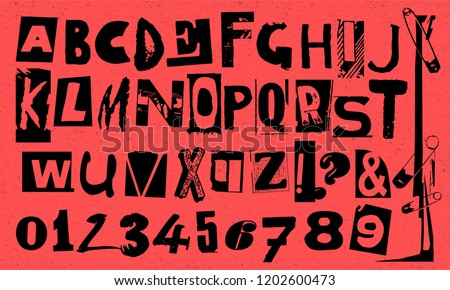 Punk typography vector alphabet and numbers. Type specimen set for grunge font flyers and posters design or ransom note designs. Foto stock ©