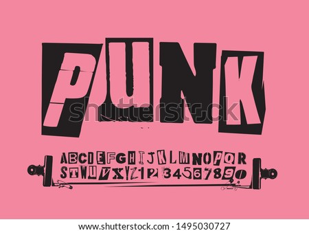 Punk vector alphabet typography specimen set for grunge font flyers and posters design or ransom notes. Foto stock ©