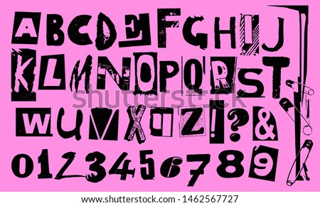 Punk vector alphabet typography specimen set with numbers for grunge font flyer and poster design or ransom notes. Foto stock ©