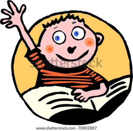 Pupil raising up his hand answering a question - stock vector