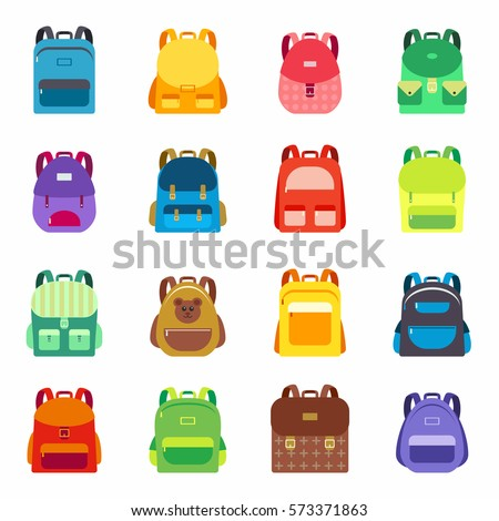 Pupil's Colorful Backpacks Set. Student Satchels Collection.  Education and study, school backpack icons.