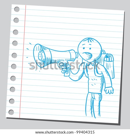 Pupil with megaphone - stock vector