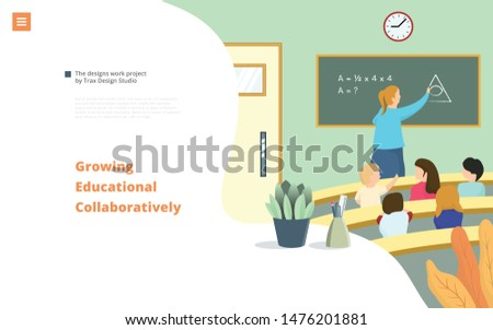 Pupils and teacher in classroom learn math. Landing Page Template. Education Trainer. Easy to edit and customize. Vector illustration
