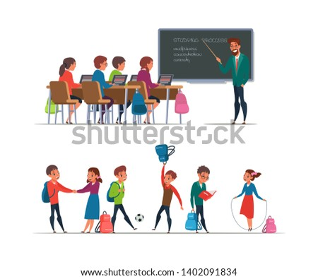Pupils at school flat illustrations set. Students at lesson in classroom clipart. Teacher cartoon character educating kids. Naughty schoolchildren having break isolated design element