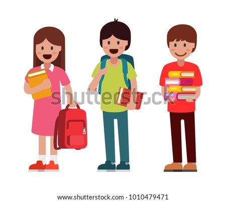 Pupils boys and girls. Vector flat illustration