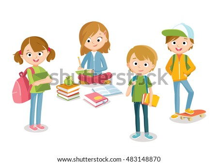 Pupils boys and girls with books