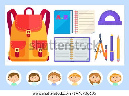 Pupils classmates and big satchel vector, textbooks and supplies. Notebook paper, pencil and pen, ruler for algebra classes, students in circle frames. Back to school concept. Flat cartoon