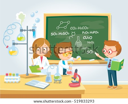 Pupils in chemistry class