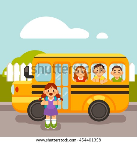 royalty free caucasian school kids riding a schoolbus Yellow School Bus Clip Art Yellow School Bus Clip Art