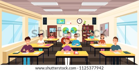 Pupils study in classroom interior. Pupils in school lesson vector concept. Study classroom interior with desk and chair. Vector illustration