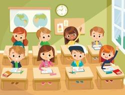 Pupils study in the classroom. School interior. Education illustration. Pupils raising hands. Back to school. Primary school kids.