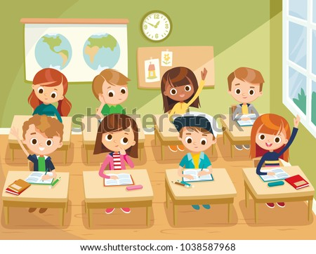 Pupils study in the classroom. School interior. Education illustration. Pupils raising hands. Back to school. Primary school kids.
