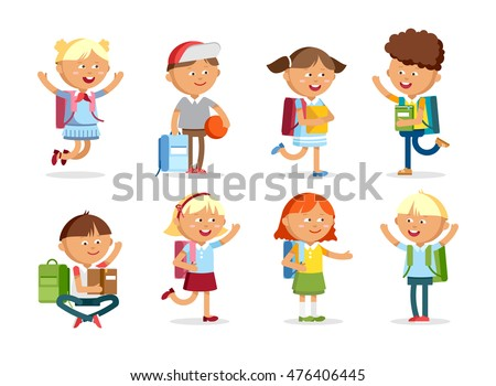 Pupils with school backpacks. Flat illustration group of boys and girls. Happy kids ready come back to school. #476406445