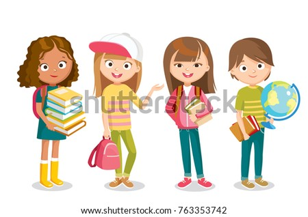 Pupils with school supplies