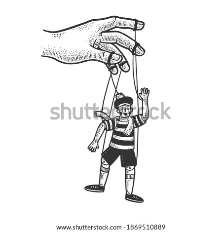 Puppet and puppeteer sketch engraving vector illustration. T-shirt apparel print design. Scratch board imitation. Black and white hand drawn image. Foto stock ©