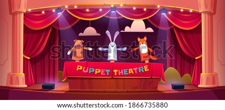 Puppet show on theater stage with red curtains and spotlights. Vector cartoon illustration of theatre for kids with marionettes. Wooden scene with animal toys on hands