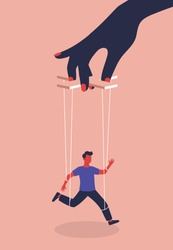Puppeteer Hand Controlling Puppet. A woman manipulates and abuses a man. Manipulation female hand. Unhealthy toxic relationships where a woman manipulates a man. Modern flat vector illustration.