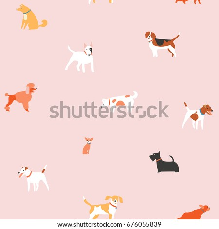 puppies dog seamless pattern in