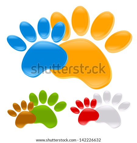 Puppy Paw prints - dog toe trails, pet symbols, icons, identify signs