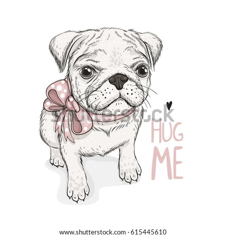puppy pug with a bow and phrase