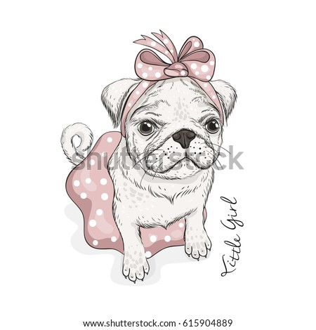 puppy pug with a bow  skirt and