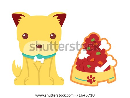 puppy with bone food vector