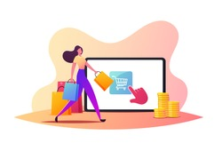 Purchase in One Click, Online Shopping Concept. Tiny Female Customer Character Walking with Bags near Huge Tablet Screen. Girl Use App for Buying, Digital Internet Store. Cartoon Vector Illustration