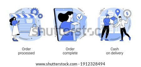 Purchase process abstract concept vector illustration set. Order processed, complete, cash on delivery, online store, e-commerce website, shipping details, delivery service abstract metaphor.