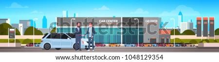 Purchase Sale Or Rental Center Seller Man Giving Keys To Owner Car Showroom Background Horizontal Banner