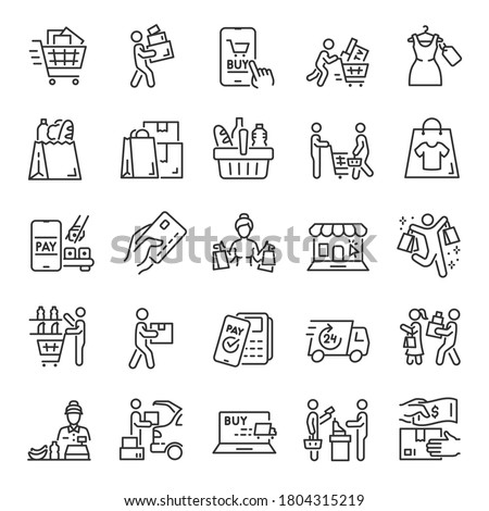 Purchases, icon set. People shopping, linear icons. Selection, payment and delivery of goods. Line with editable stroke